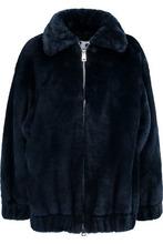 Ainea | Ainea Woman Oversized Faux Fur Coat Midnight Blue Size 38 | Clouty