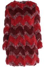 Ainea | Ainea Woman Printed Faux Fur Jacket Claret Size 42 | Clouty