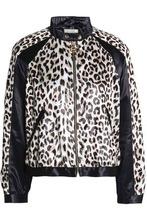 NINA RICCI   Nina Ricci Woman Paneled Leopard-print Satin Jacket Animal Print Size 34   Clouty