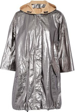 Brunello Cucinelli   Brunello Cucinelli Woman Coated Metallic Textured-leather Hooded Jacket Silver Size 42   Clouty