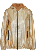 Brunello Cucinelli   Brunello Cucinelli Woman Coated Metallic Leather Hooded Jacket Gold Size 42   Clouty