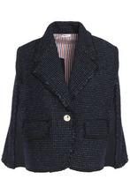 Thom Browne | Thom Browne Woman Fringe-trimmed Wool-blend Tweed Jacket Indigo Size 46 | Clouty