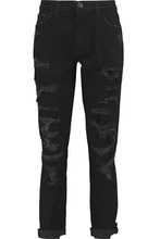 Current/Elliott | Current/elliott Woman Distressed Mid-rise Boyfriend Jeans Black Size 27 | Clouty
