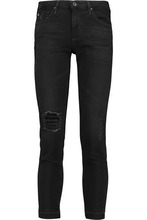 AG Jeans | Ag Jeans Woman Stilt Distressed Mid-rise Skinny Jeans Black Size 30 | Clouty