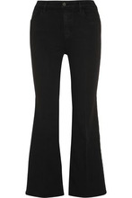 J Brand | J Brand Woman Carolina Cropped High-rise Flared Jeans Black Size 30 | Clouty