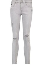 AG Jeans | Ag Jeans Woman The Legging Ankle Mid-rise Distressed Skinny Jeans Light Gray Size 26 | Clouty