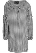 Nicholas | Nicholas Woman Ruffle-trimmed Gingham Cotton And Silk-blend Mini Dress Black Size S | Clouty