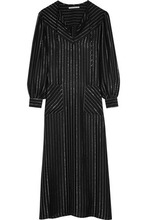 Alessandra Rich | Alessandra Rich Woman Metallic Striped Silk-blend Kaftan Black Size 38 | Clouty