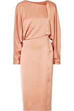 Tom Ford   Tom Ford Woman Draped Cutout Silk-satin Midi Dress Sand Size 48   Clouty