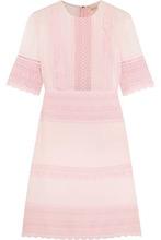 Giambattista Valli | Giambattista Valli Woman Guipure Lace-paneled Crepe And Chiffon Mini Dress Pink Size 44 | Clouty
