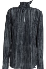 NINA RICCI | Nina Ricci Woman Tie-neck Houndstooth Silk Blouse Gray Size 38 | Clouty
