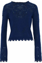 Derek Lam 10 Crosby | Derek Lam 10 Crosby Woman Pointelle-knit Cotton Sweater Storm Blue Size M | Clouty