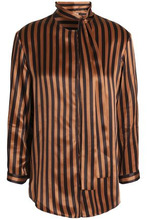 NINA RICCI | Nina Ricci Woman Pussy-bow Striped Silk-satin Shirt Brown Size 40 | Clouty