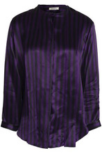 NINA RICCI | Nina Ricci Woman Pussy-bow Striped Silk-satin Shirt Violet Size 40 | Clouty