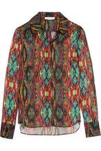 Matthew Williamson | Matthew Williamson Woman Sweetie Ragadang Printed Silk-chiffon Shirt Red Size 8 | Clouty
