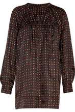 Isabel Marant | Isabel Marant Woman Gathered Printed Silk-satin Top Black Size 38 | Clouty