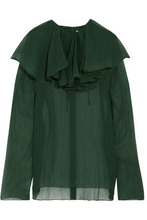 NINA RICCI | Nina Ricci Woman Ruffled Crinkled Silk-chiffon Blouse Emerald Size 40 | Clouty