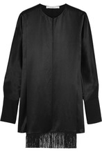 GIVENCHY | Givenchy Woman Fringed Top In Black Silk-satin Black Size 36 | Clouty