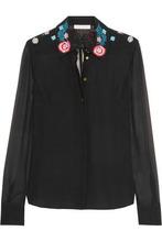 Matthew Williamson | Matthew Williamson Woman Floral-print Embroidered Silk-crepe Shirt Black Size 8 | Clouty