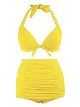 Zaful | Plus Size Halter Vintage High Waist Bikini Swimwear | Clouty