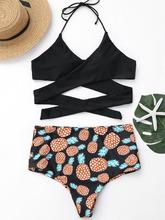 Zaful | Plus Size Pineapple Print Wrap Bikini Swimwear | Clouty