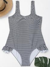 Zaful | Low Back Striped Ruffles Plus Size Swimwear | Clouty