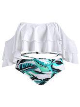 Zaful | Leaf Print Off The Shoulder Plus Size Bikini Set | Clouty