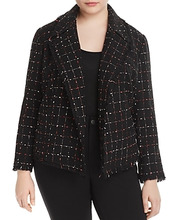 Vince Camuto | Vince Camuto Plus Spring Windowpane Tweed Blazer | Clouty
