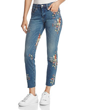 Blank NYC   Blanknyc Embroidered Straight-Leg Jeans in Green Thumb Blue   Clouty