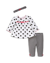 Little Me | Little Me Girls' Polka-Dotted Tunic, Striped Leggings & Headband Set - Baby | Clouty