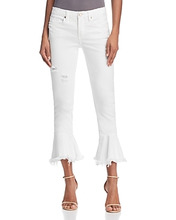 Blank NYC   Blanknyc Ruffle-Hem Distressed Skinny Jeans in Great White   Clouty