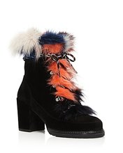 Stuart Weitzman | Stuart Weitzman Yukon Mink Fur and Suede Lace Up Booties | Clouty