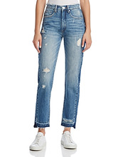 Blank NYC   Blanknyc Contrast Panel Straight-Leg Jeans in Hot Thoughts Blue   Clouty