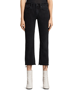 AllSaints | Allsaints Serene Cropped Kick Flare Jeans in Washed Black | Clouty