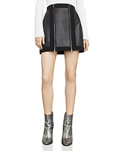 BCBGMAXAZRIA | Bcbgmaxazria Roxy Faux-Leather Detail Mini Skirt | Clouty