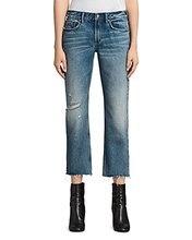 AllSaints | Allsaints Serene Distressed Kick Flare Jeans in Mid Indigo Blue | Clouty