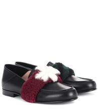 FENDI   Fur-embellished leather loafers   Clouty