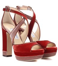Jimmy Choo | April 120 velvet plateau sandals | Clouty