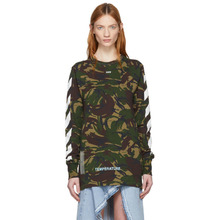 Off-White | Off-White Green Camouflage Diagonal T-Shirt | Clouty