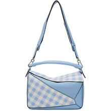 Loewe   Loewe Blue Gingham Puzzle Bag   Clouty